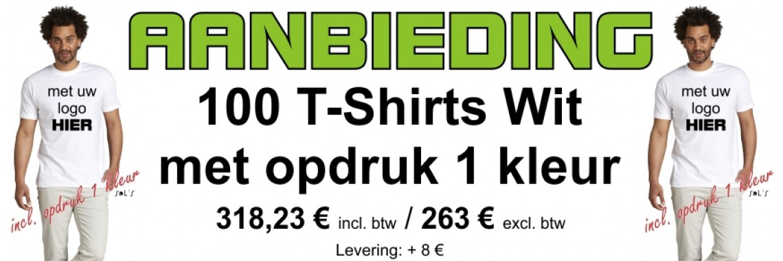 Aanbieding 100 T-Shirts Wit