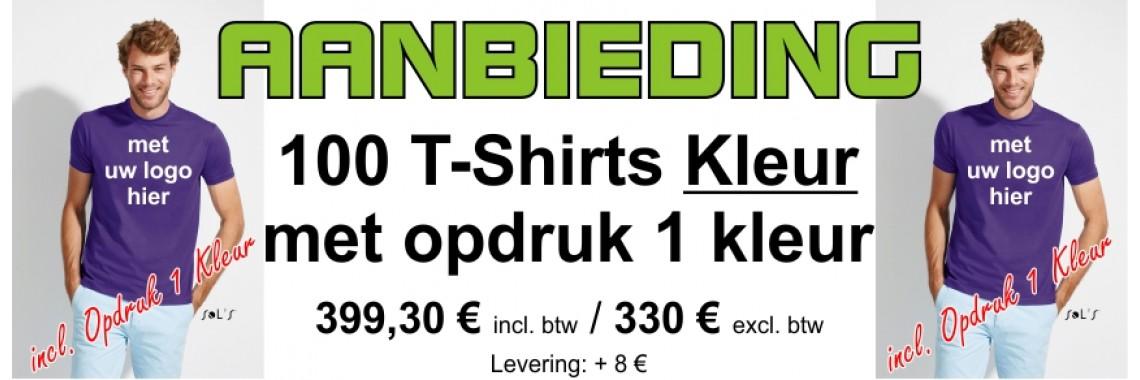 Aanbieding 100 T-Shirts Kleur