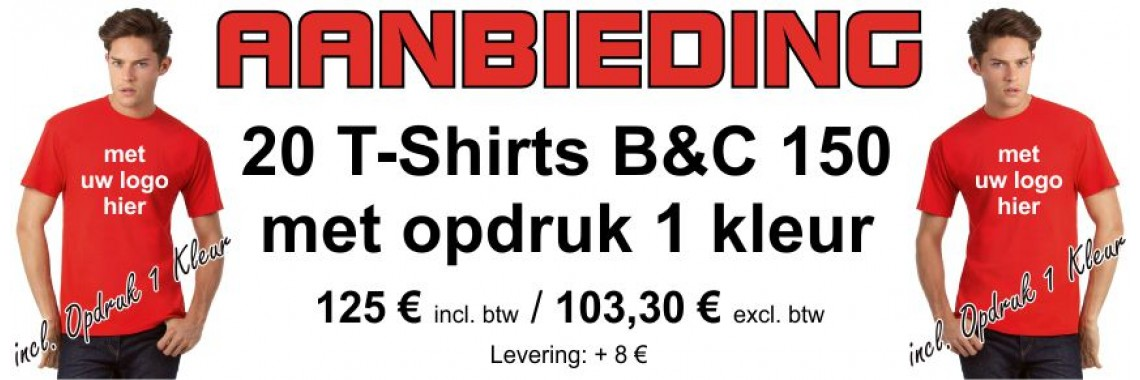 Aanbieding 20 T-Shirts Kleur B&C